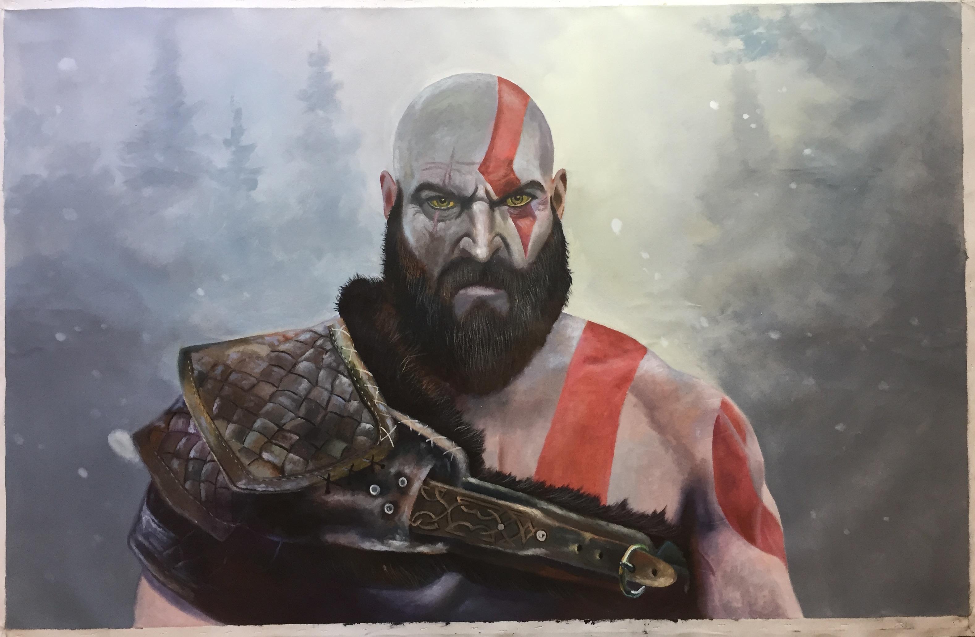 Kratos God of War artwork by Benjamin Flamel - art listed for sale on Artplode