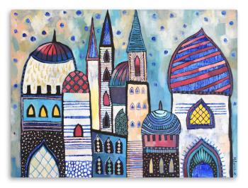 Eastern City Landscape , art for sale online by Olga Milovich