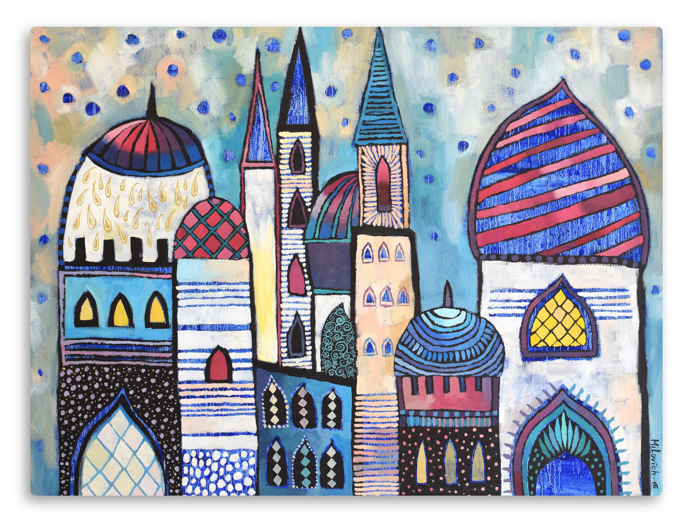 Eastern City Landscape  artwork by Olga Milovich - art listed for sale on Artplode