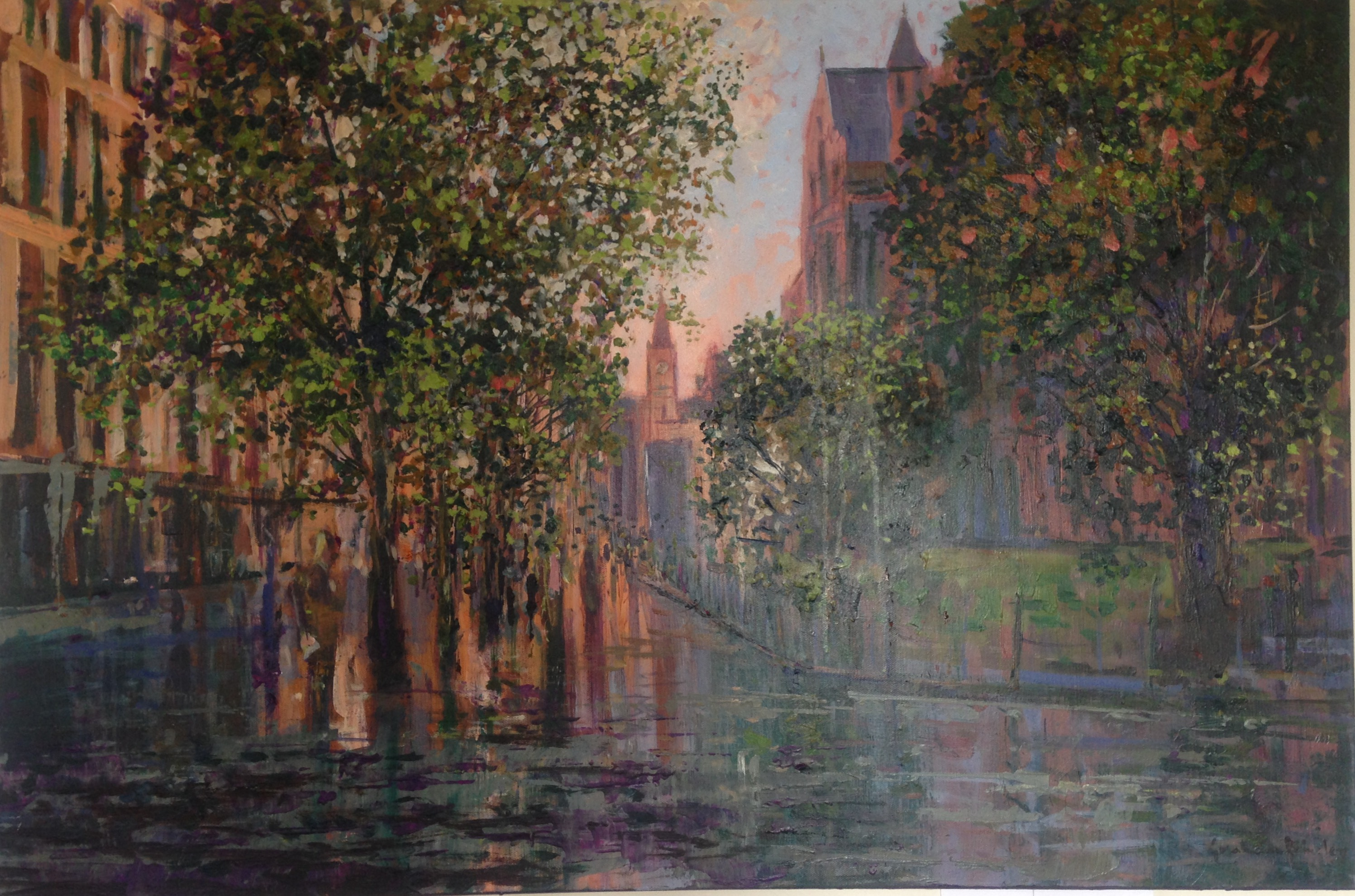 Melbourne in the Rain artwork by Graham Brinsley - art listed for sale on Artplode
