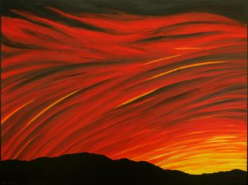 Red Sunset, art for sale online by John Clisset