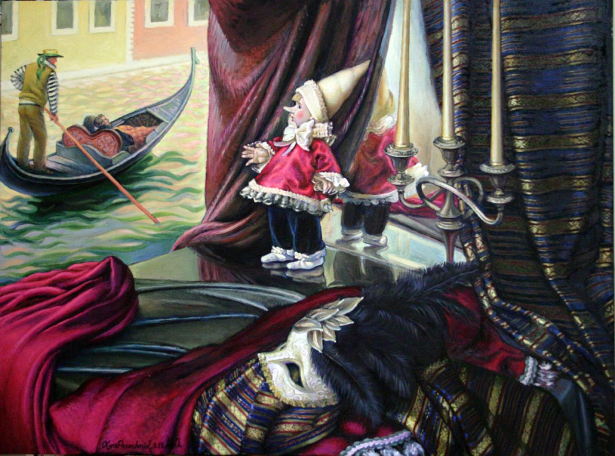 Something mysterious is about Venice  artwork by Olga Pasechnikova - art listed for sale on Artplode