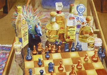 Chess and Tequila, art for sale online by Mary Helmreich