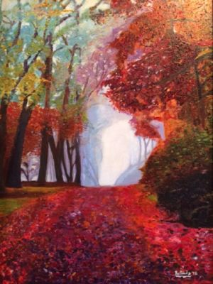 The Red Cathedral, art for sale online by Belinda Low