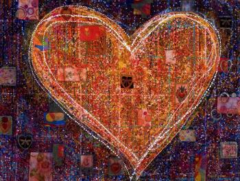 Hearts in Space, art for sale online by Maria Reyes Jones