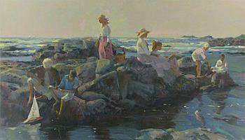 Family Outing At The Cove, art for sale online by Don Hatfield