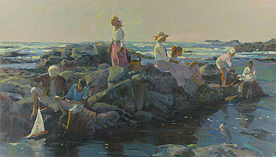 Family Outing At The Cove artwork by Don Hatfield - art listed for sale on Artplode