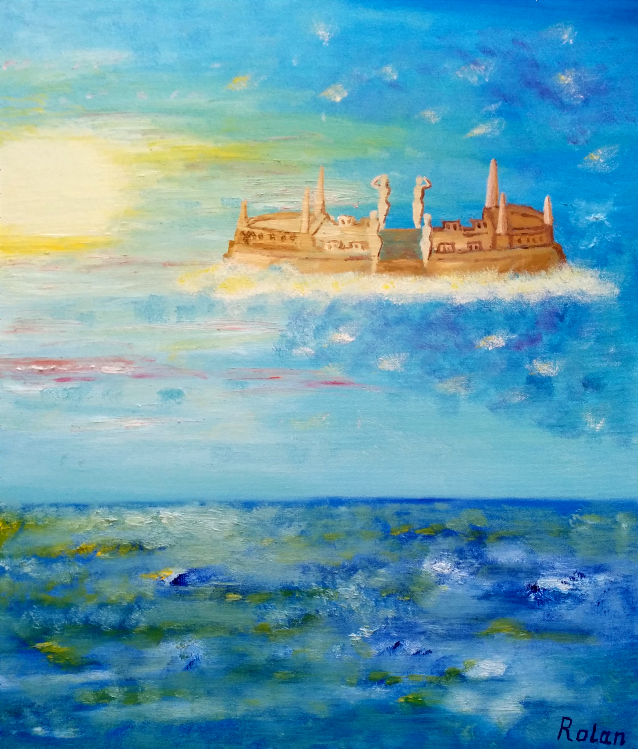Barge of Vizcaya in the Sky artwork by Rolan Letalov - art listed for sale on Artplode