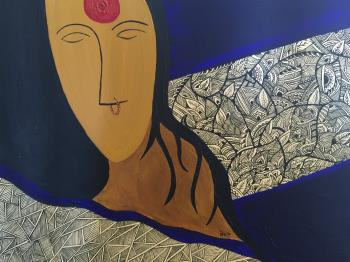Mystery of the Indian Woman, art for sale online by Medha Paleja
