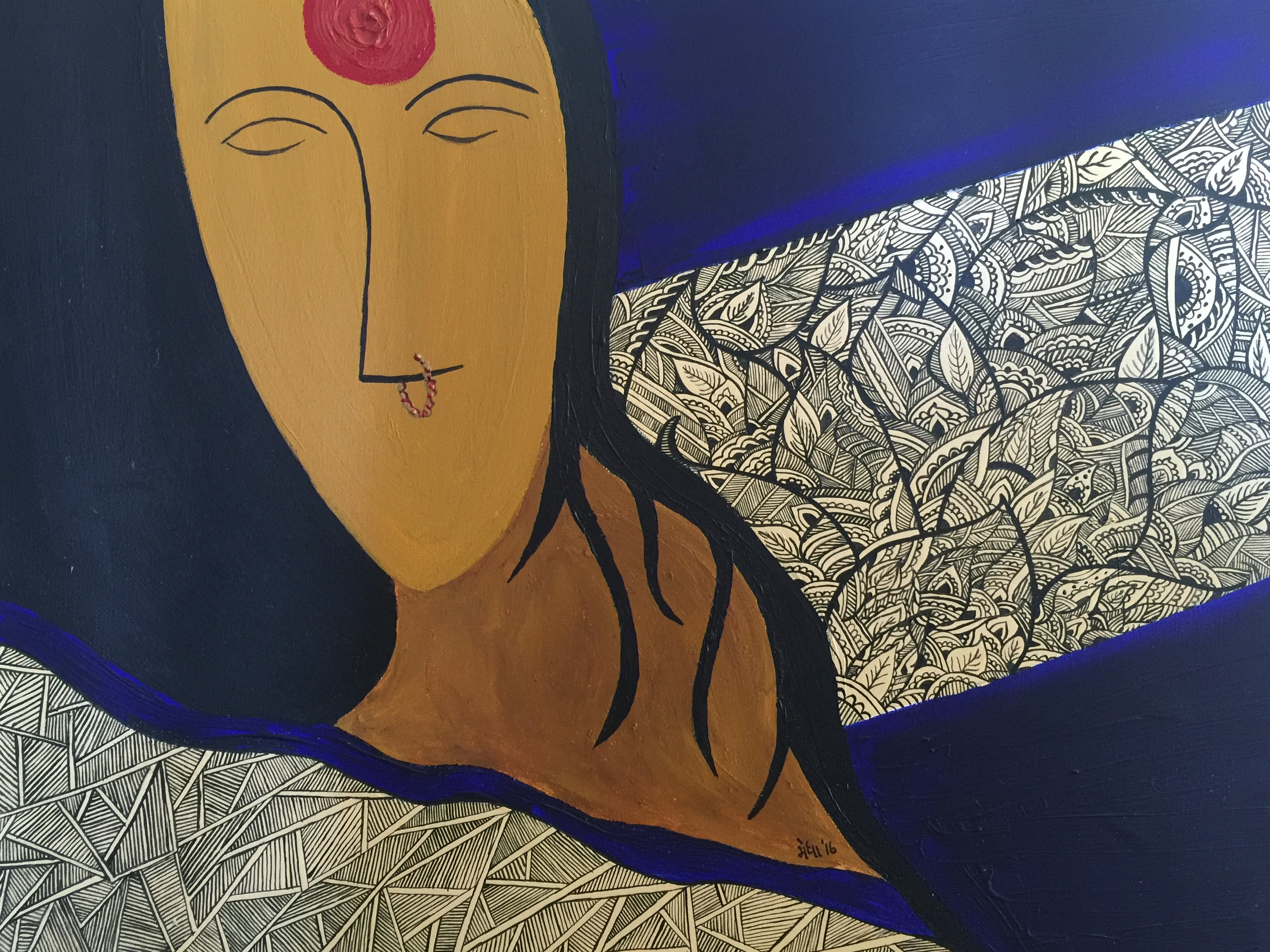 Mystery of the Indian Woman artwork by Medha Paleja - art listed for sale on Artplode