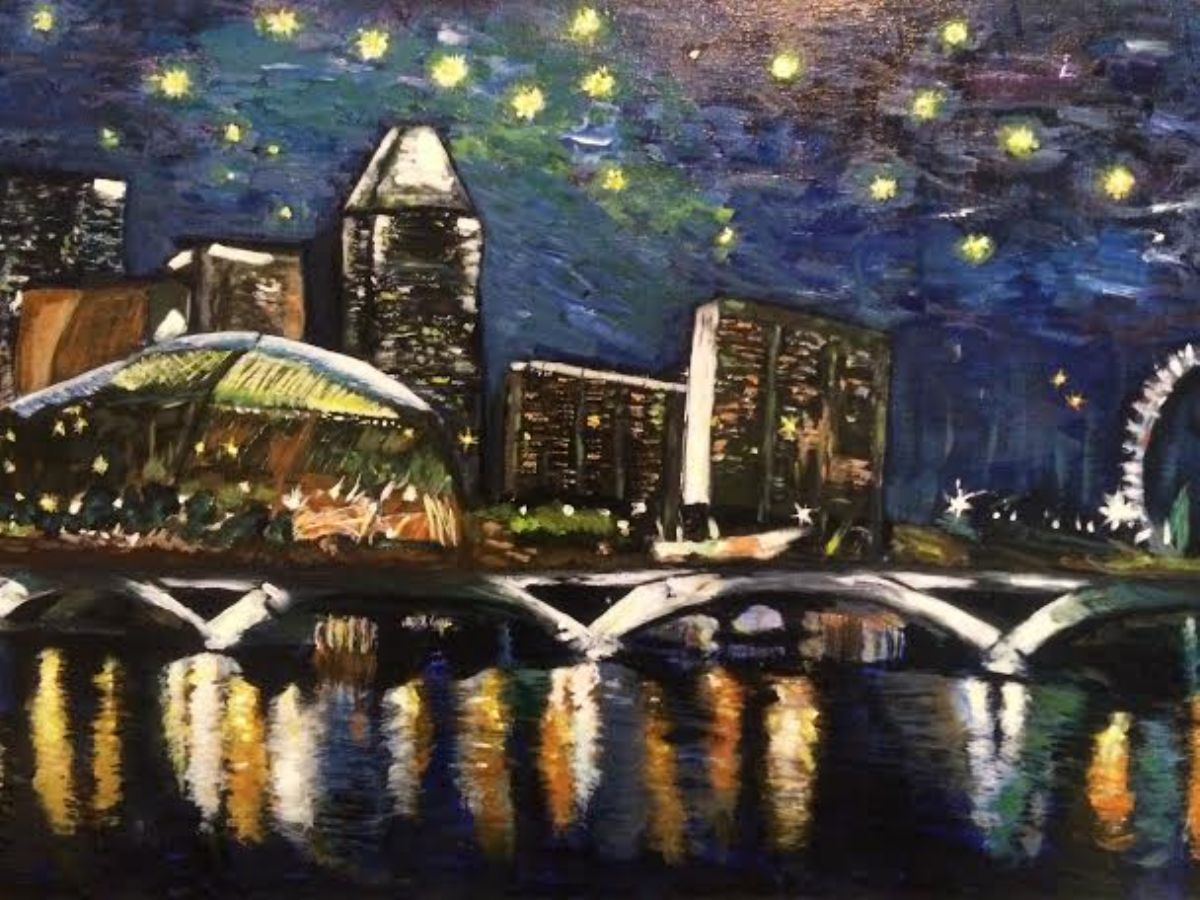 Starry Night over the River artwork by Belinda Low - art listed for sale on Artplode