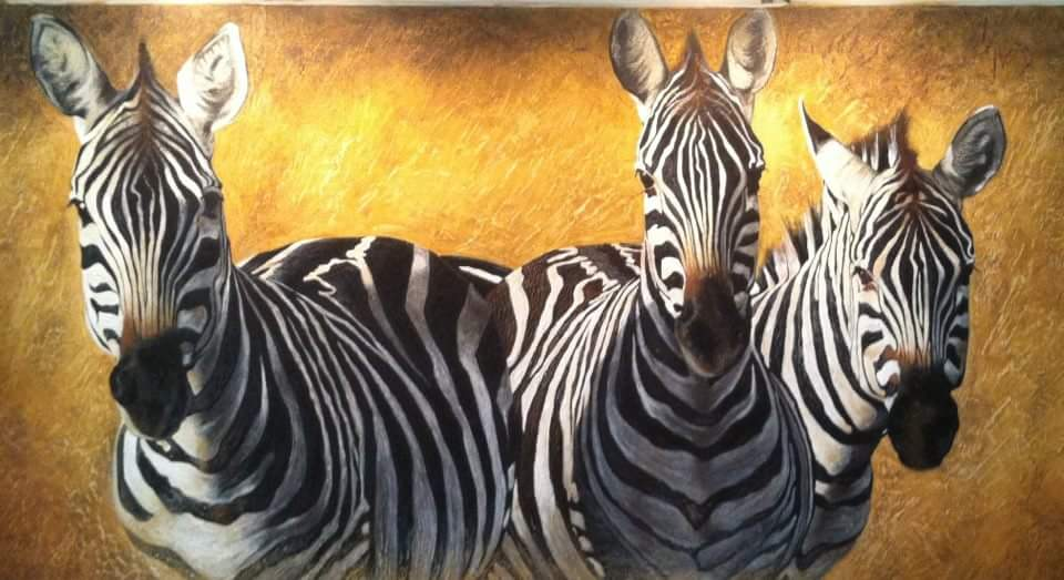 Zebras artwork by Benita Lubbe - art listed for sale on Artplode