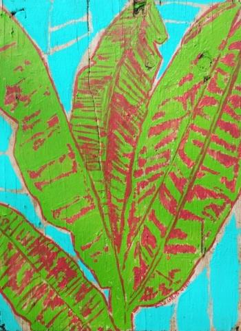 Banana Leaves on Blue, art for sale online by Jessica LaPorte