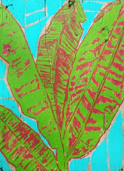 Banana Leaves on Blue artwork by Jessica LaPorte - art listed for sale on Artplode