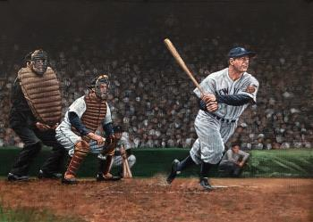 Gehrig crushed one in Cleveland, art for sale online by Paul Lempa