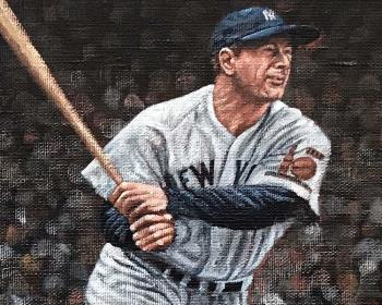 Gehrig crushed one in Cleveland artwork by Paul Lempa - art listed for sale on Artplode