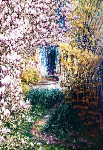 Garden with Magnolia tree, art for sale online by Dariusz Romanowski