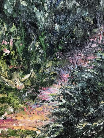 Garden with Magnolia tree artwork by Dariusz Romanowski - art listed for sale on Artplode