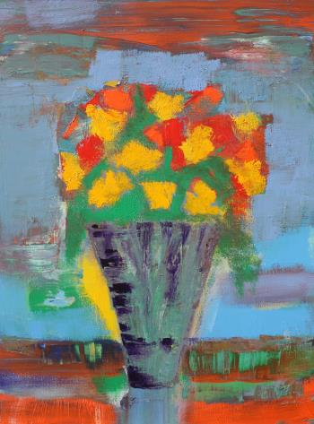 Yellow and Orange Flowers, art for sale online by Joe McGee