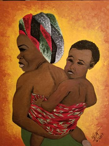 African Mother and Child, art for sale online by Tammy Bijou