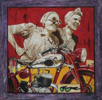 NANAS A LA MOTO, art for sale online by ANTON MOLNAR