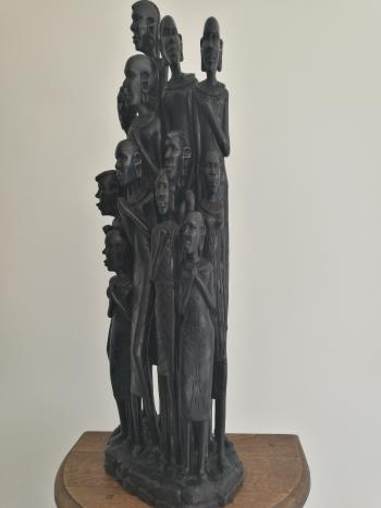 Statue of Tanzanian Family artwork by Costa Charles Bwaluka - art listed for sale on Artplode
