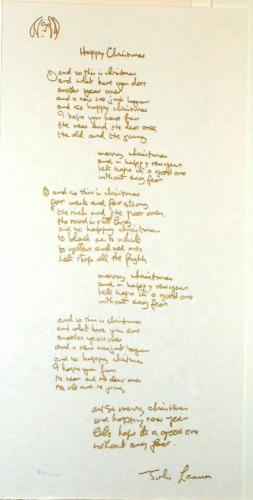 Happy Christmas lyric, art for sale online by John Lennon