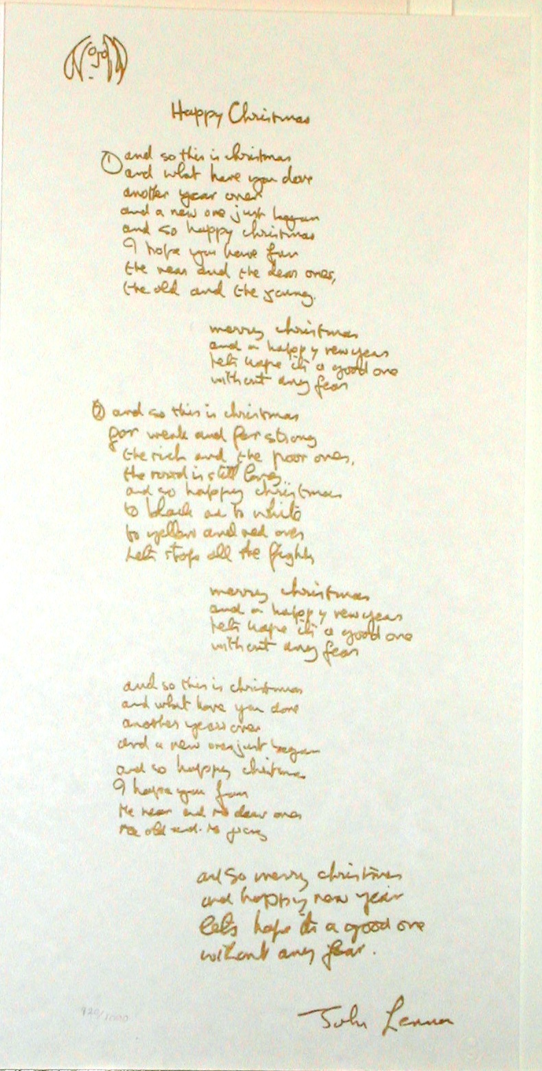 Happy Christmas lyric Artwork By John Lennon - Buy Art on Artplode