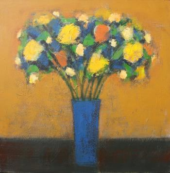 Blue Vase with Ochre Wall, art for sale online by Joe McGee