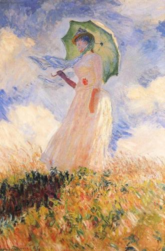 Woman with a Parasol facing left, art for sale online by Claude Monet