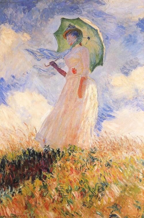 Woman with a Parasol facing left artwork by Claude Monet - art listed for sale on Artplode