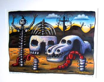 Boneland I Housebone carbone and treebones, art for sale online by Reg Mombassa