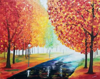 Autumn Pathway, art for sale online by Stacey Wellnitz