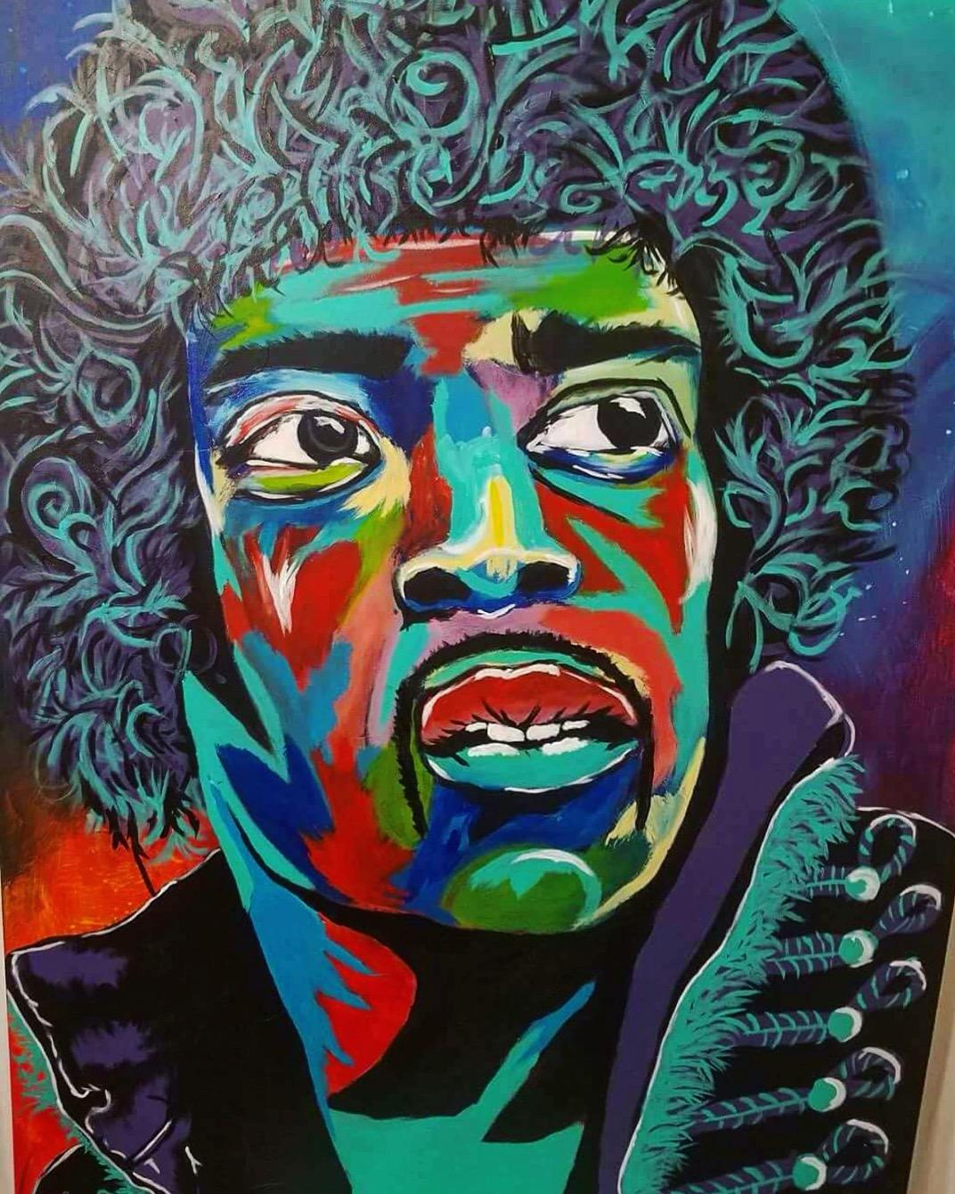Jimi Hendrix Power Trip artwork by Brayan Caudillo - art listed for sale on Artplode