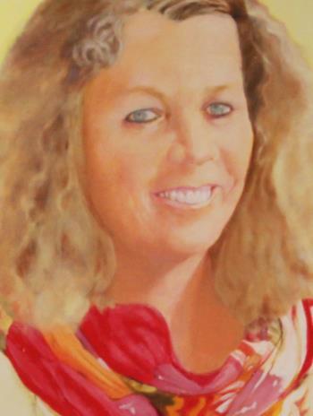 Smiling blonde artwork by Marijke Vanwezer