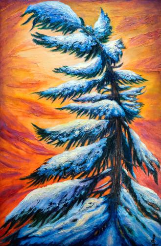 Pine tree Winter portrait, art for sale online by Lilia Dalamangas
