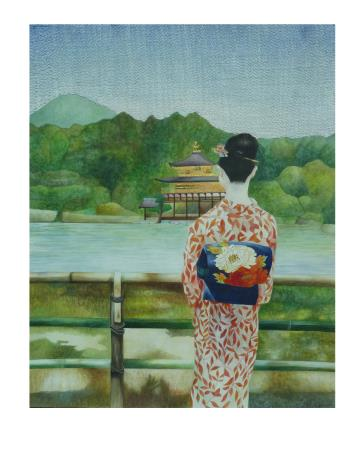 Golden Pavilion, art for sale online by Veda Ng