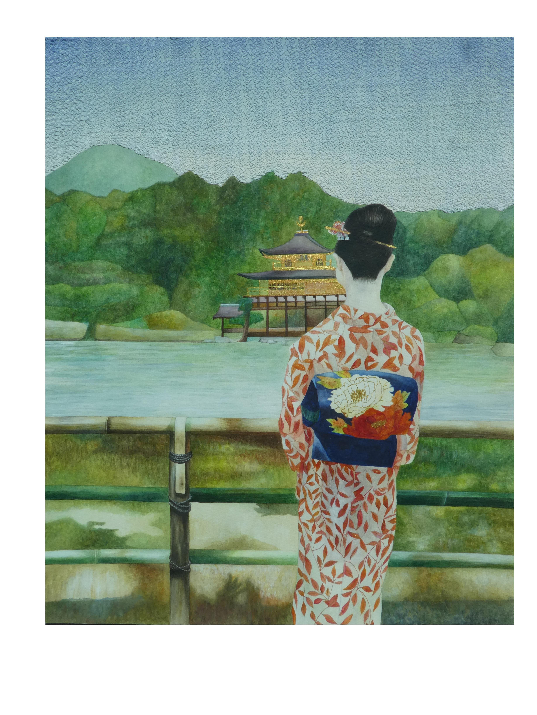 Golden Pavilion artwork by Veda Ng - art listed for sale on Artplode