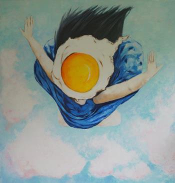 Egg girl flying, art for sale online by Ta Thimkaeo