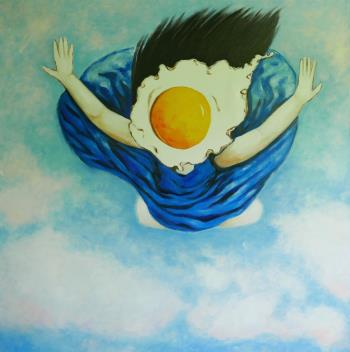 Egg girl flying, art for sale online by Ta Thimkaeo