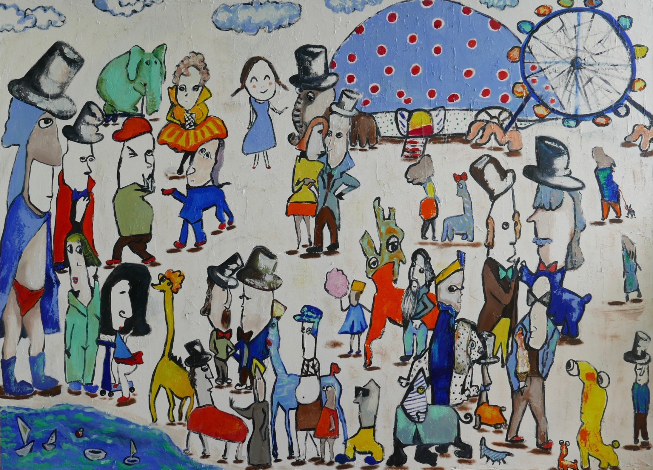 Elephant on skates with friends artwork by Ta Thimkaeo - art listed for sale on Artplode