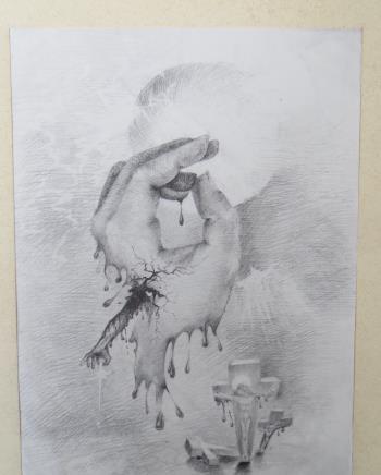 The Hand of Jesus artwork by Daniela Kostova - art listed for sale on Artplode