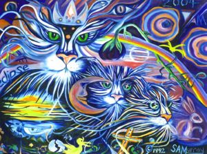 Cosmic Cats, art for sale online by SA MURRAY