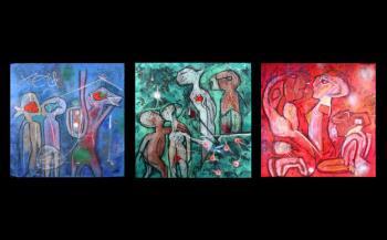LOeuf de Verb Etoile de Jardin Perser LInvincible Triptych, art for sale online by Roberto Matta