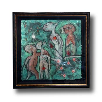 LOeuf de Verb Etoile de Jardin Perser LInvincible Triptych artwork by Roberto Matta - art listed for sale on Artplode