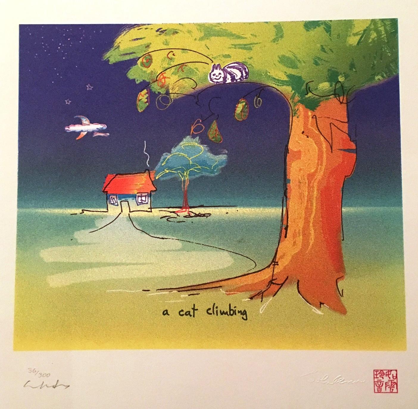 A Cat Climbing artwork by John Lennon - art listed for sale on Artplode
