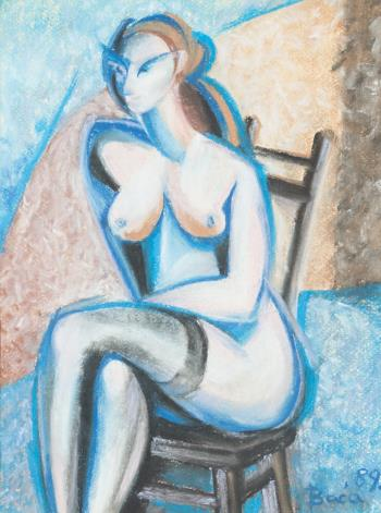 Nude female abstract painting 5, art for sale online by Robert Baca