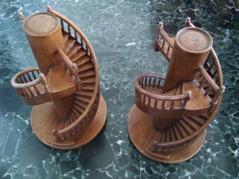 Pair of circular model staircases , art for sale online by unsigned