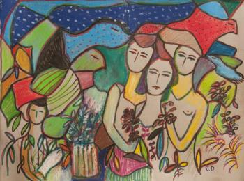 Les Oiseaux, art for sale online by  Rita David
