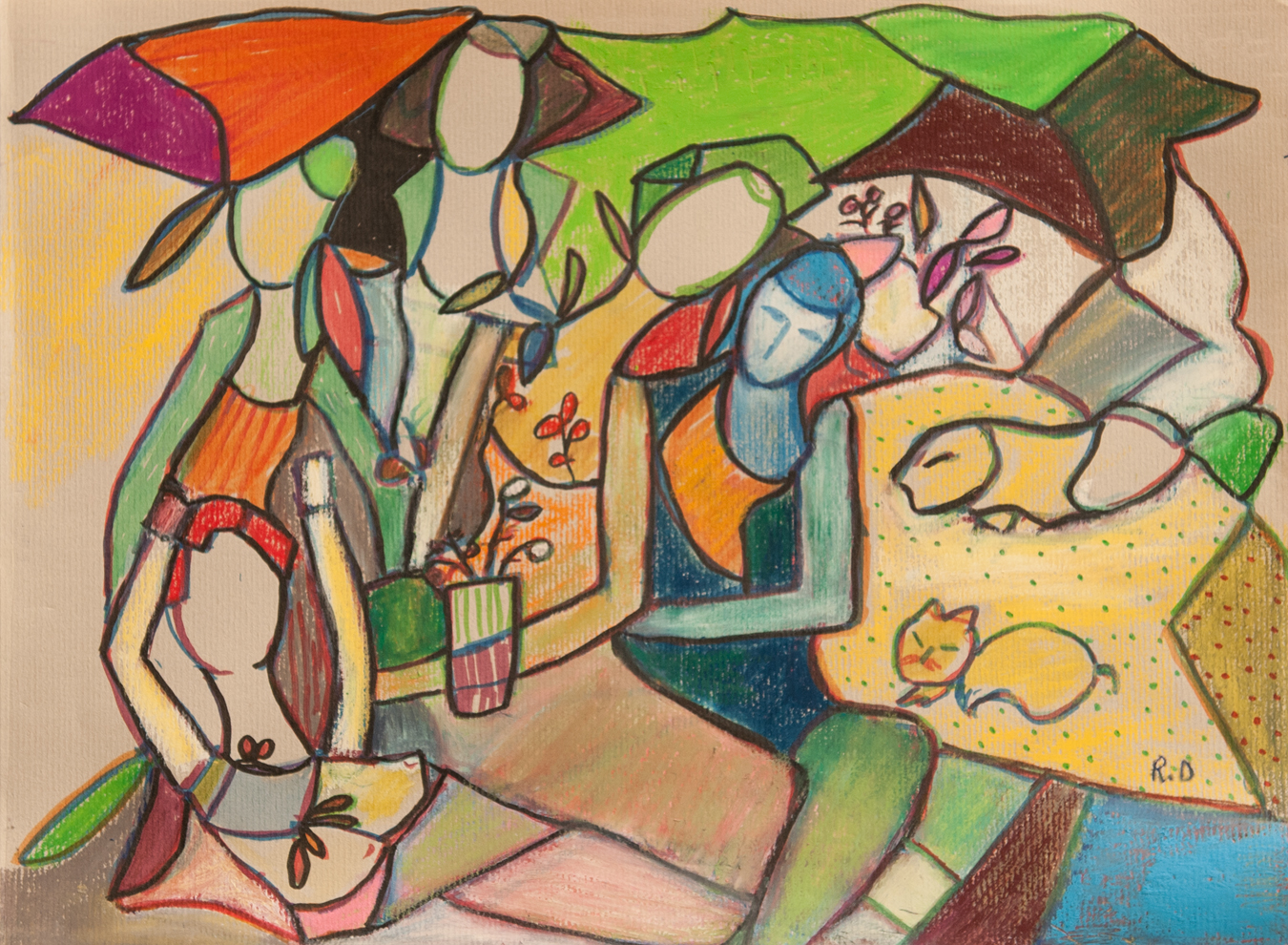Chat et Chienne artwork by Rita David - art listed for sale on Artplode